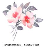 rose bush in blossom watercolor ... | Shutterstock . vector #580597405