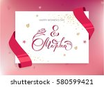 8 march greeting card with red... | Shutterstock .eps vector #580599421