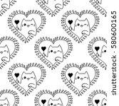 doodles cute seamless pattern.... | Shutterstock .eps vector #580600165