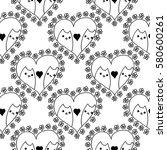 doodles cute seamless pattern.... | Shutterstock .eps vector #580600261