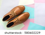 men fashion shoe on color paper ... | Shutterstock . vector #580602229