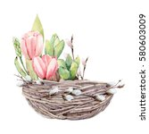 hand drawn watercolor easter... | Shutterstock . vector #580603009