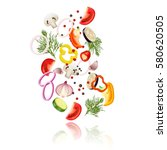 sliced vegetables  realistic... | Shutterstock .eps vector #580620505