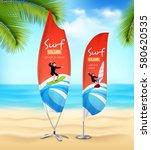 tropical island beach sport... | Shutterstock .eps vector #580620535