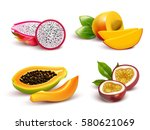 realistic tropical fruits... | Shutterstock .eps vector #580621069