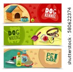 Stock vector pet care funny colorful horizontal banners petsshop advertising bookmarks collection with dog 580622374