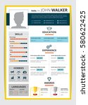 cv template with male candidate ... | Shutterstock .eps vector #580622425