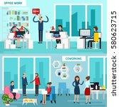 two horizontal working... | Shutterstock .eps vector #580623715