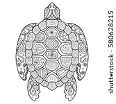 zendoodle stylized turtle for t ... | Shutterstock .eps vector #580628215