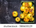 box full of of stale green... | Shutterstock . vector #580633129