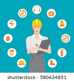workplace safety checklist | Shutterstock .eps vector #580634851