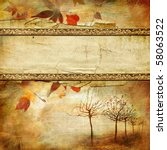 vintage autumn background with place for text - stock photo