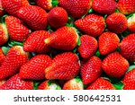 fresh red strawberries | Shutterstock . vector #580642531