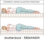 correct spine sleeping position  | Shutterstock .eps vector #580644604