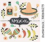vector cartoon mexican set of... | Shutterstock .eps vector #580646275