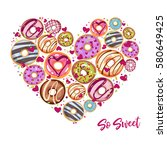 so sweet. design from donuts in ... | Shutterstock .eps vector #580649425