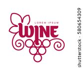 wine logo templates. bottle ... | Shutterstock .eps vector #580654309