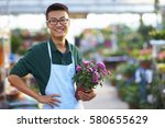 one young happy asian male... | Shutterstock . vector #580655629
