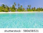idyllic tropical beach... | Shutterstock . vector #580658521