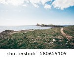 the amazing view of rhossili bay   Shutterstock . vector #580659109