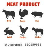 meat products from beef  pork ... | Shutterstock .eps vector #580659955