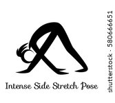 intense side stretch pose ... | Shutterstock .eps vector #580666651