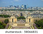 View from Eiffel tower on Place de Varsovie, Pont d'Iena and Challiot Palace. - stock photo