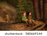 cute red haired boy and... | Shutterstock . vector #580669144