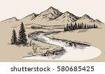 mountain landscape nature... | Shutterstock .eps vector #580685425
