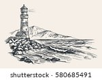 lighthouse vector drawing ... | Shutterstock .eps vector #580685491