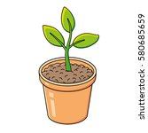 green plant in a flower pot... | Shutterstock .eps vector #580685659