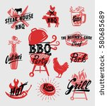 color bbq symbol vector... | Shutterstock .eps vector #580685689