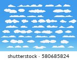cloud vector icon set white... | Shutterstock .eps vector #580685824