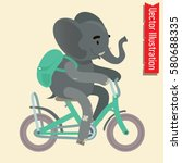cute elephant riding a bicycle... | Shutterstock .eps vector #580688335