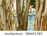 detail of a hindu temple at la... | Shutterstock . vector #580691785