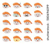 sashimi emoji vector set. emoji ... | Shutterstock .eps vector #580696099