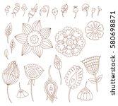 henna designs hand drawn... | Shutterstock .eps vector #580698871