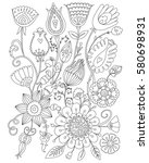 page coloring for adults ... | Shutterstock .eps vector #580698931