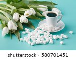coffee cup and bunch of white... | Shutterstock . vector #580701451