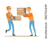 delivery service workers... | Shutterstock .eps vector #580701649