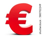 red euro sign isolated on white ... | Shutterstock . vector #580702249