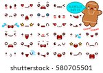 set of cute kawaii emoticon... | Shutterstock .eps vector #580705501