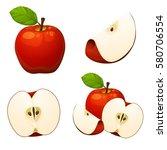 apples isolated set 1 | Shutterstock .eps vector #580706554