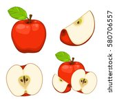 apples isolated set 2 | Shutterstock .eps vector #580706557