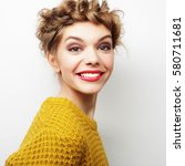woman hair style portrait.close ... | Shutterstock . vector #580711681