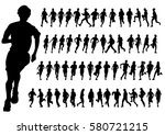 people athletes on running race ... | Shutterstock . vector #580721215