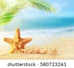 summer beach.   | Shutterstock . vector #580723261
