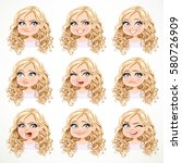 beautiful cartoon blonde girl... | Shutterstock .eps vector #580726909