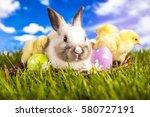 easter chicken and rabbit in... | Shutterstock . vector #580727191