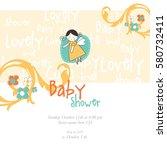baby shower invitation template.... | Shutterstock .eps vector #580732411